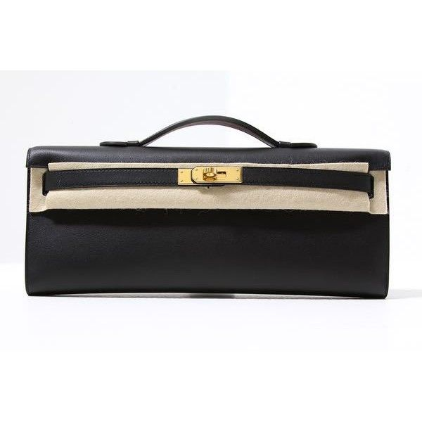 Hermes Black Swift Leather Kelly Cut Clutch Bag New Stamp A 2017 (46,875 SAR) ❤ liked on Polyvore featuring bags, handbags, clutches, hermes clutches, 100 leather handbags, genuine leather purse, hermès and hermes purse