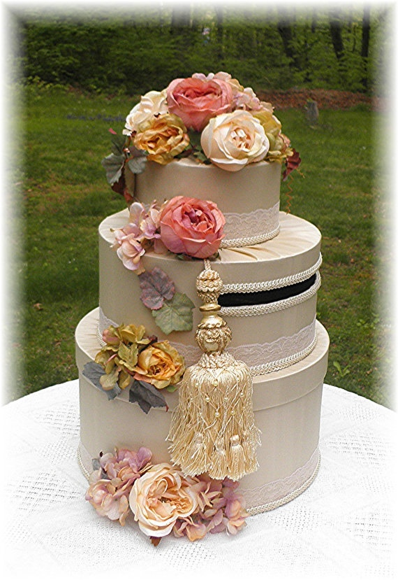 VICTORIAN Inspired Wedding Ornate TASSEL Card Box  CUSTOMIZE Your Colors Flowers. $155.00, via Etsy.