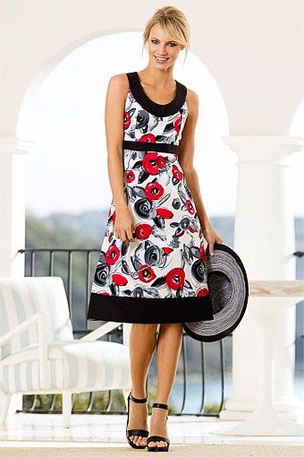 Evening Cocktail Dress - Dresses - Capture Cotton Print Dress