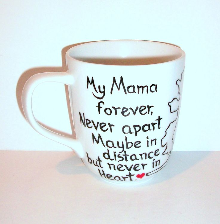 My Mama Forever Single Hand Painted Porcelain Cup State to State Coffee Cup, Coffee Mug, Painted Cup, Single Porcelain Cup, Long Distance by SharonsCustomArtwork on Etsy