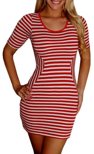 Nautical Red White Stripes Fitted Bodycon Pin Up Dress