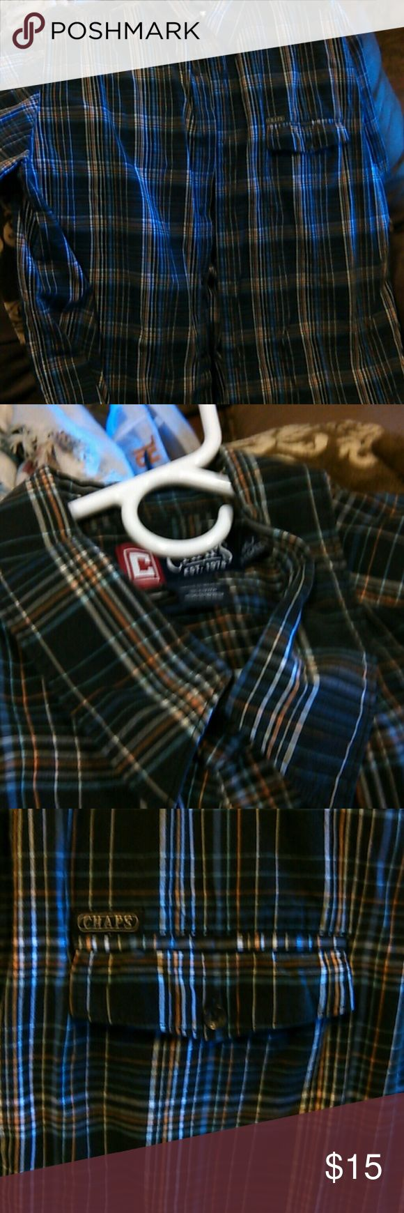 Mens chaps dress shirt xxl Striped has front pocket short sleeves great condition Chaps Shirts Dress Shirts