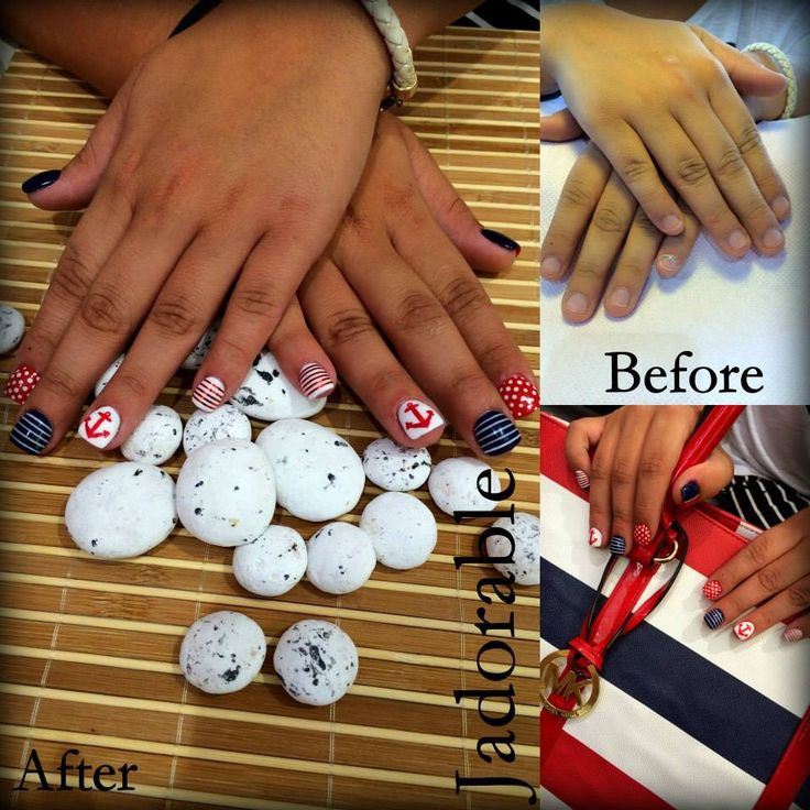 Red Anchor/Navy Nails