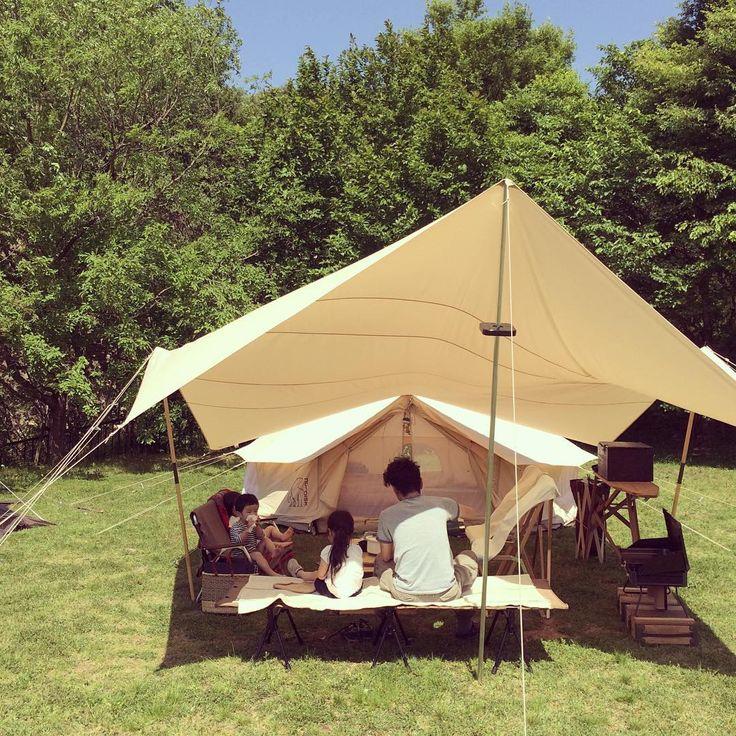 かなりの強風ですが、晴天でキャンプ日和。。。 #こども#暮らし#日々#初歌#桜和#ノルディスク#アスガルド#キャンプ