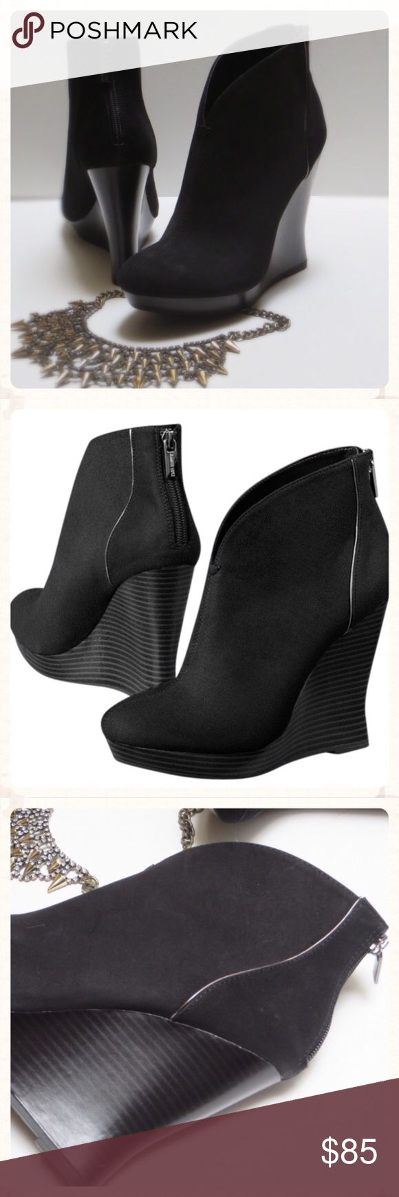 NWOT Jennifer Lopez Black Platform Booties NWOT - Ankle boots. Featuring a tapered collar and metallic trim, these women's booties create striking style. Back zipper lends trendy appeal. Platform wedge heel adds height without compromising stability. Almond toe Zipper closure. Brushed fabric upper Manmade lining Lightly padded footbed TPR/fabric outsold 4 1/4-in heel 3/4 in. NO TRADES Jennifer Lopez Shoes Ankle Boots & Booties