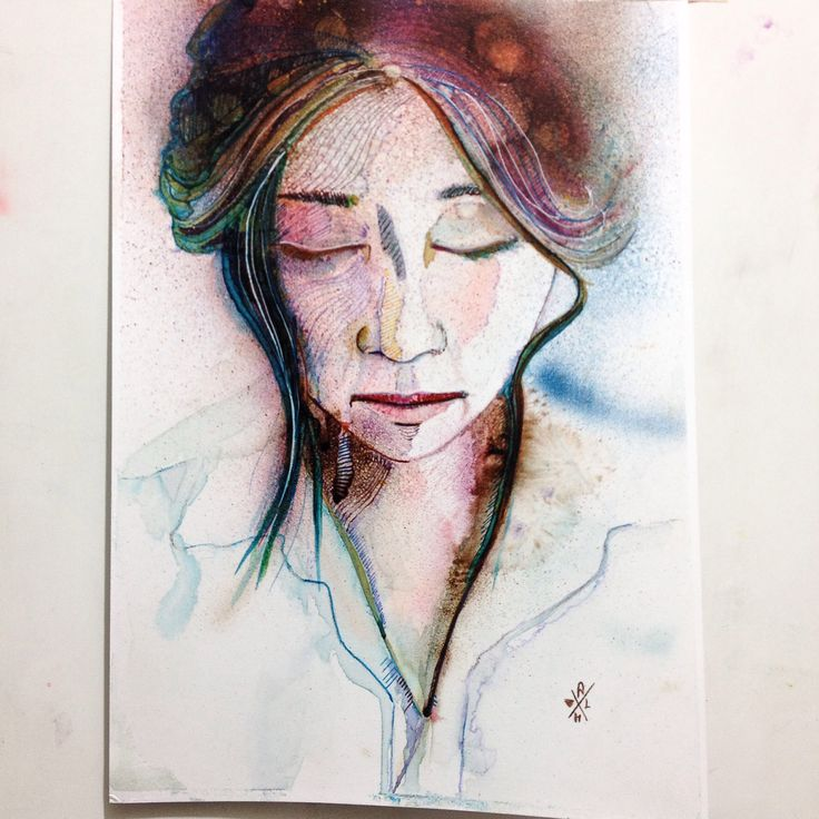 Studio with various colored inks  #drawing #inks #water color #woman #portrait