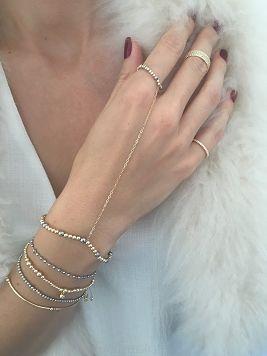 Bransoletka & pierścionek / srebrny hematyt / złocenie