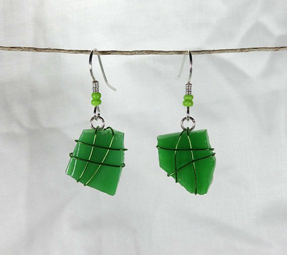 Green Wire Wrap on Green Mosaic Glass Drop by AccidentallyAwesome