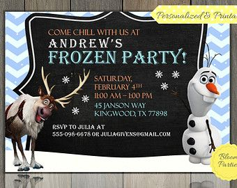 Frozen Boy Invite - Disney Frozen Boys Party Invitation - Olaf and Sven, Digital, Printable Frozen Birthday Party Invitation for Boy