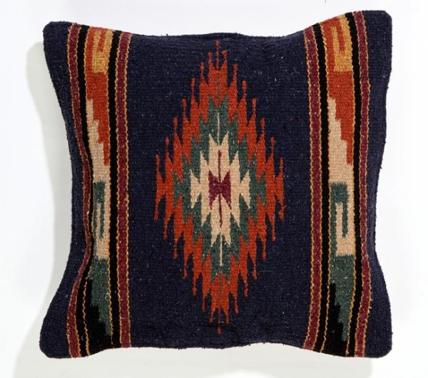 Southwest Decor Southwest Pillows Two Handwoven Azteca Throw Pillow Covers in Navy and Rust ...