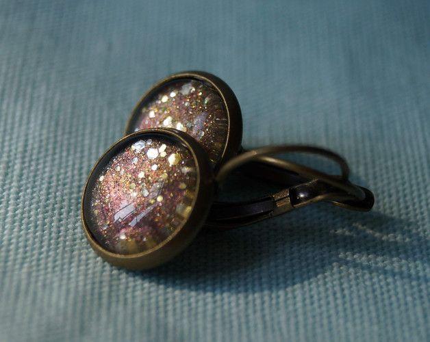 Ohrringe - Grau-Goldene Glitzerohrringe OHRRINGE GLITZER Gold - ein Designerstück von Wolkendieb bei DaWanda