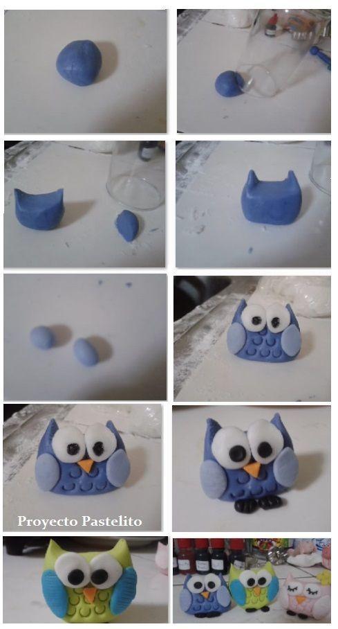 en masa flexible Buho paso a paso | Porcelana fría | Pinterest