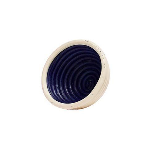 small circular rattan bowl hand-painted blue inside