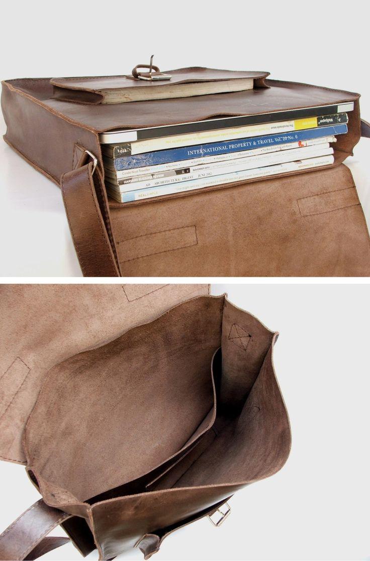 Messenger bag for Mens Women Unisex Brown Leather BACK by abizema, $79.99