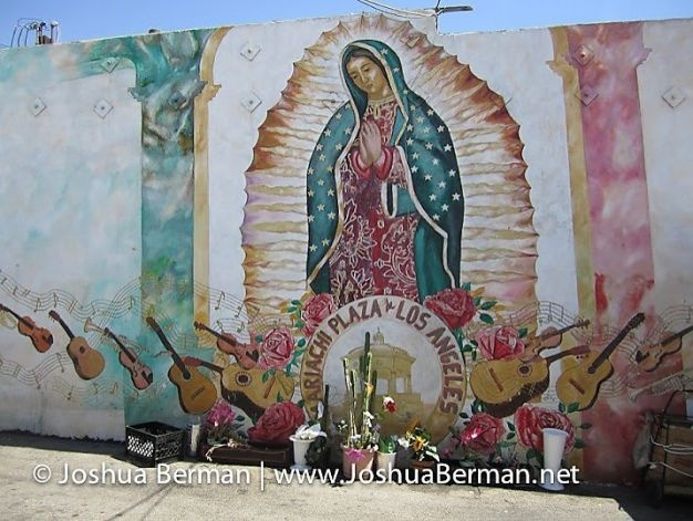 A mural and shrine in Mariachi Plaza de Los Angeles (in East Los Angeles) are dedicated to musicians.  Photo: Joshua Berman, Special To The Chronicle / SF