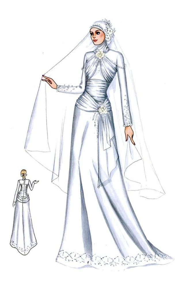Sketch of Modern Kebaya with Ruffle and Sequins