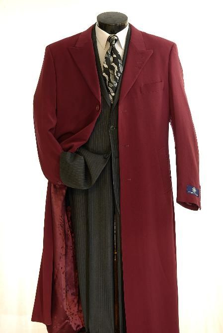 SKU#Coat0050 Elegant Mens Full Length Top Coat Burgundy $135 Outerwear ...  www.mensusa.com