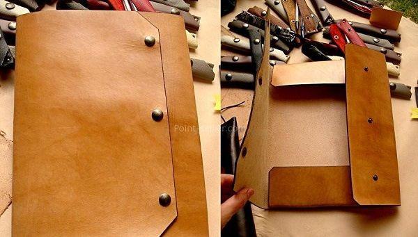 Nouveau patron : un porte document en cuir sans couture : http://www.crea-cuir.com/patrons.php
