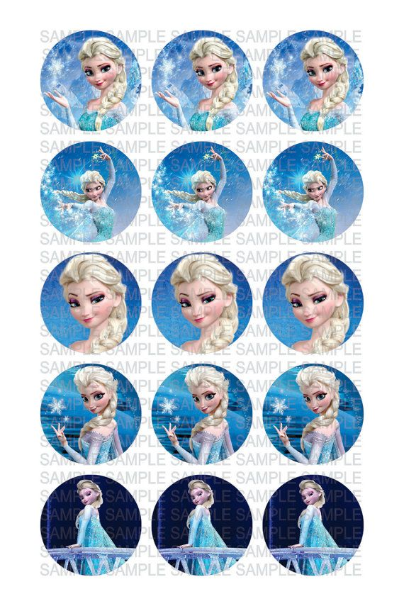 "FROZEN ELSA Digital 4x6 jpg File for (15) 1"" circle Images for Bottle Caps - Cupcake Toppers -  Scrapbooking - Party Decoration"