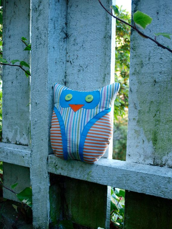 Striped Owl Cushion by BadgerBlossom on Etsy, $20.00 https://www.etsy.com/nz/listing/177972875/striped-owl-cushion