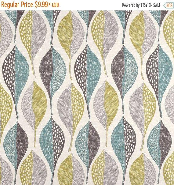 Aqua Blue and Grey Modern Upholstery Fabric  by FabricSupplyCo
