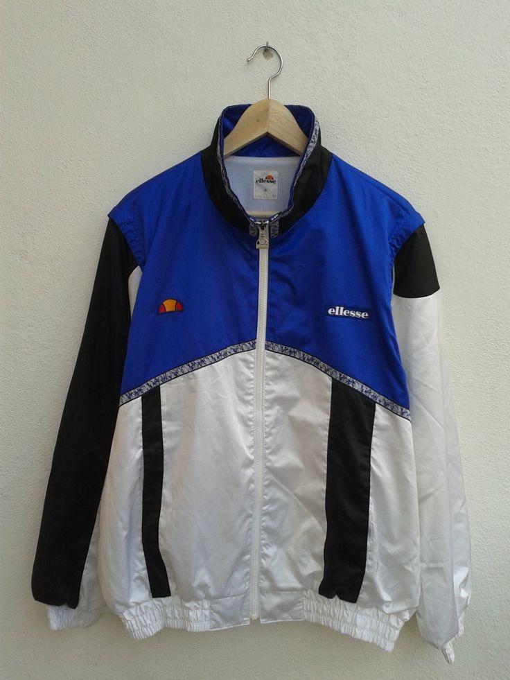 SUMMER SALE Vintage 90s Ellesse Color Block ski gear Blue White jacket - $25.42 USD