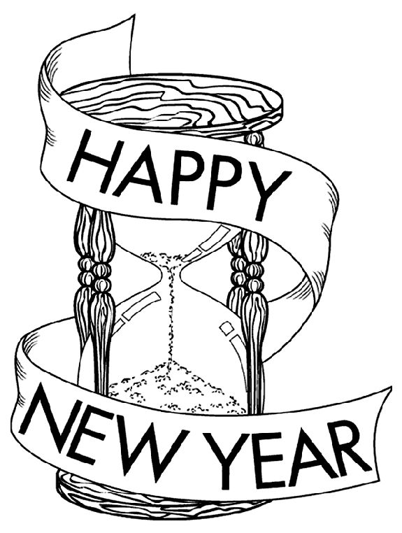 New Year Hour Glass Coloring Page Crayola
