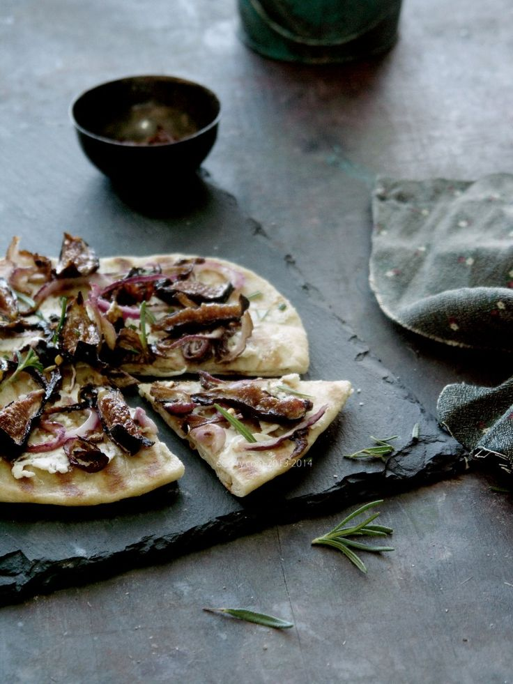 Naan Pizza with Goat Cheese, Balsamic-Roasted Figs, & Onions | eCurry