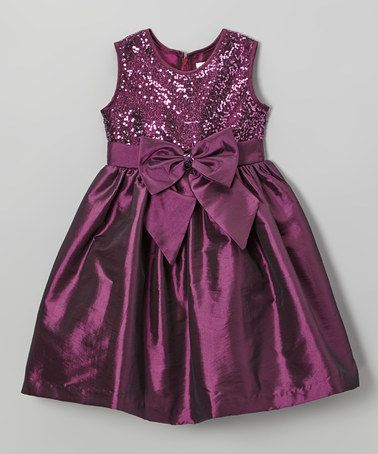 This Plum Sequin Bow Dress - Toddler & Girls by Jayne Copeland is perfect! #zulilyfinds