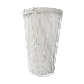 Wire Hamper with Removable Liner - White