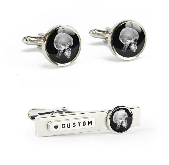 gift for him for boyfriend husband Monogrammed black cufflinks any message