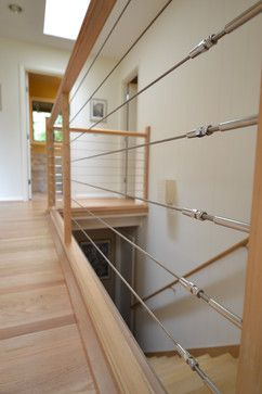 steel cables wood | Stainless Steel Cable Railing modern staircase