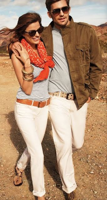 Chinos: White Skinny Jeans, Fashion, Summer Outfit, Style, White Pants, Scarves, Stripes, White Jeans, Belts