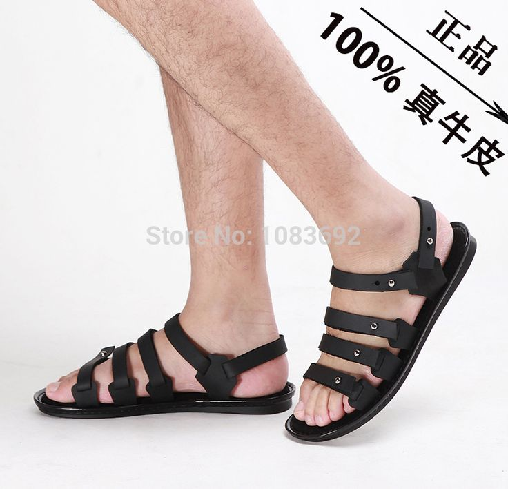 Handmade 38 45 Genuine Leather Men Sandals Slippers Man Summer Leather Shoes  Fashion Beach Shoes Gladiator