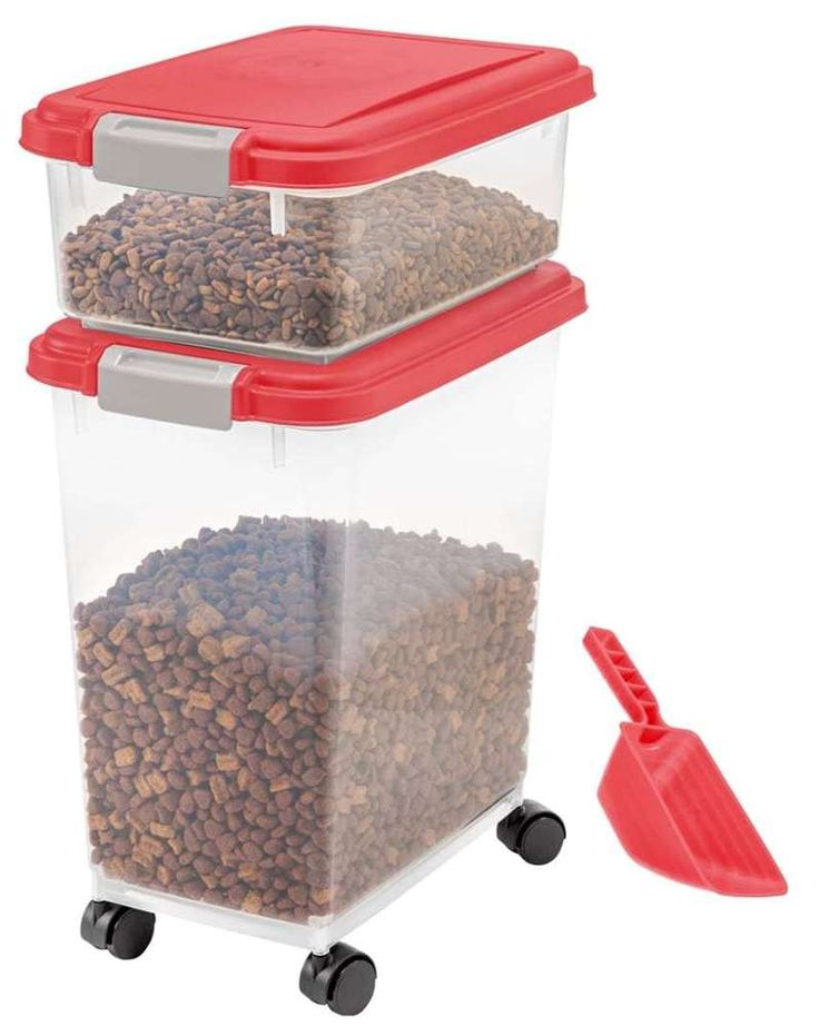 Pet Food Storage Bin Airtight Container Combo Holder Dog Cat Rolling Scoop,Red #IRISUSAInc