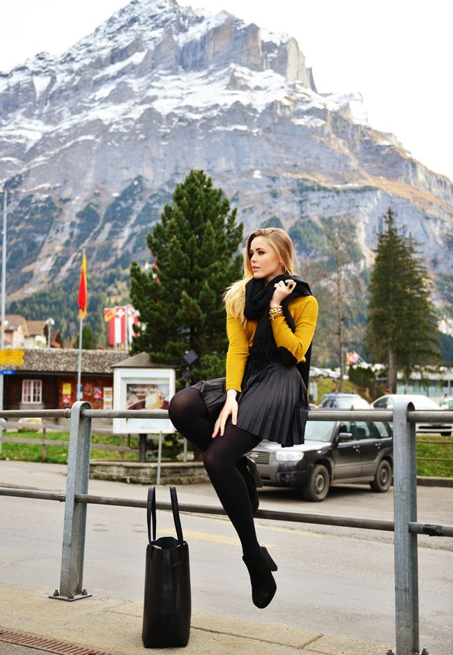 sweater, skirt, black, yellow, scarf,style, women, clothing, fashion, outfit, bracelet, pantyhose, heels, handbag, fall, autumn