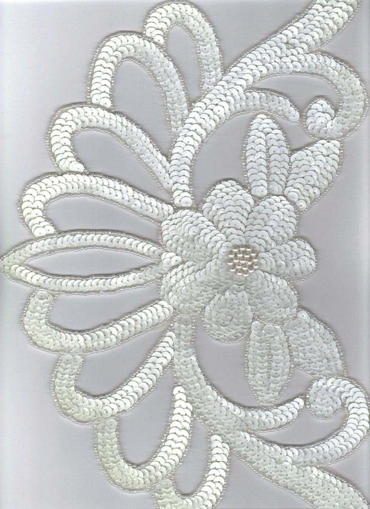 Sequined Applique Large White
