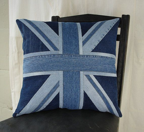 Union Jack Pillow, applique from recycled denim, 45cm, 17-18 inches on Etsy, $275.38 AUD