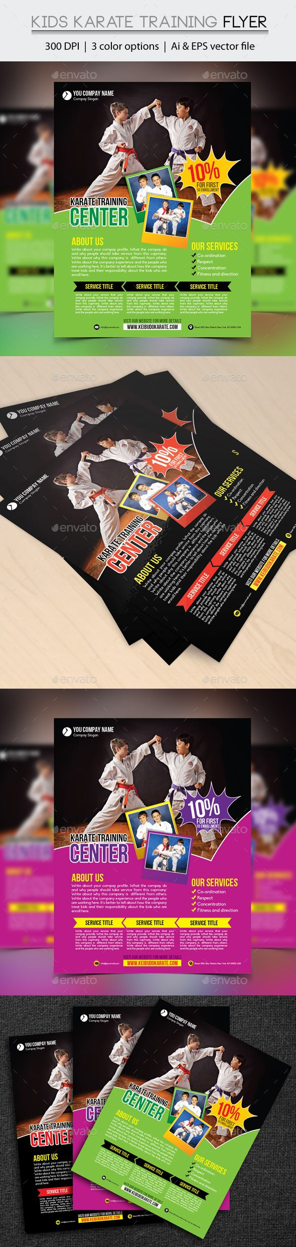 """Kids Karate Training Flyer by design_station Kids Karate Training Flyer (Editable) Specifications: - Size: 8.5""""x11"""" - Bleed: .25\""""- Three color variations (Black, Green & Ma"""