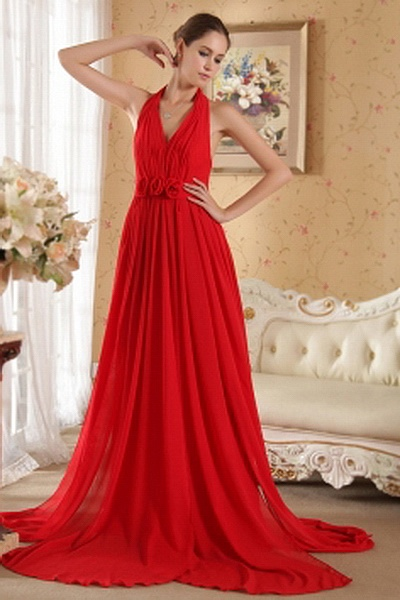 A-Line Chiffon Elegant Homecoming Gown wr1771 - http://www.weddingrobe.co.uk/a-line-chiffon-elegant-homecoming-gown-wr1771.html - NECKLINE: Halter. FABRIC: Chiffon. SLEEVE: Sleeveless. COLOR: Red. SILHOUETTE: A-Line. - 142.59