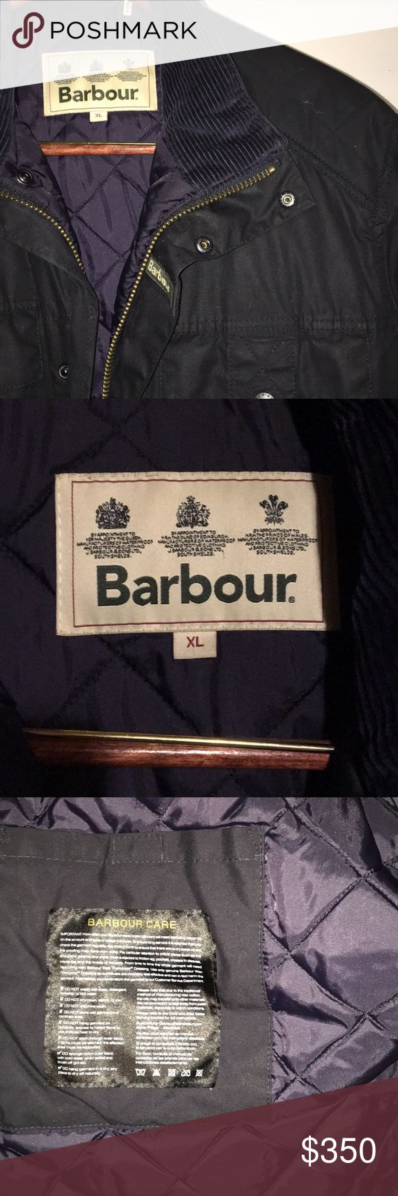 💎 Barbour Jacket Men's 💎 VERY NICE men's Barbour jacket!  Very warm and thick. Super comfortable! This was bought BRAND NEW and worn once! Didn't fit right for me so I'm selling! The color is a really dark deep navy with a navy Corduroy collar. The inside is a navy quilted insulation.   Size: XL  Condition: XL Barbour Jackets & Coats Raincoats