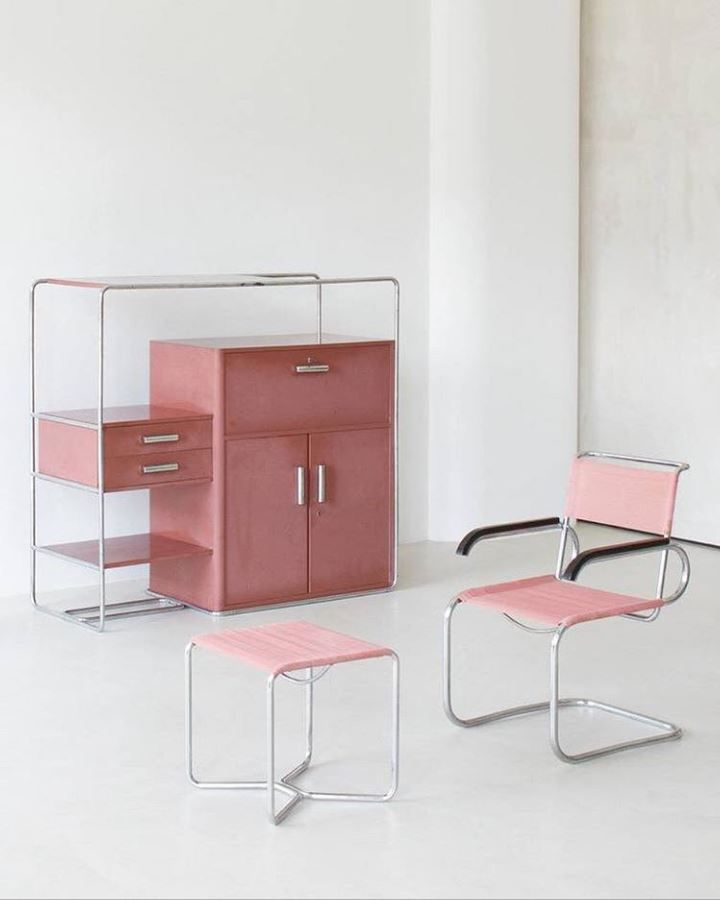 Bruno Weil - Bauhaus table and chairs I chose this piece because I really enjoy the colour. The pink is fun and interesting. The colour could add a nice pop to the mostly monotone room.