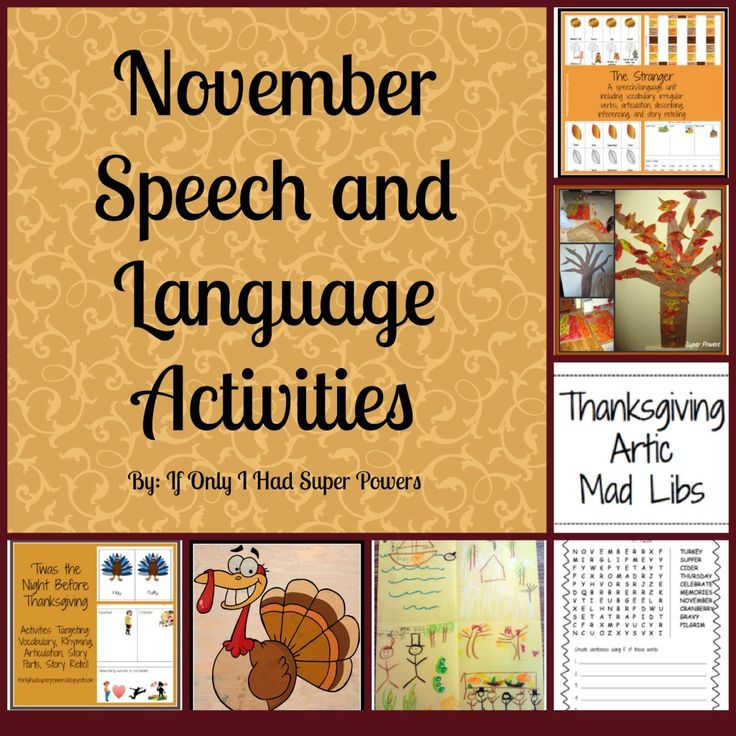 November Speech and Language Activities by If Only I Had Super Powers