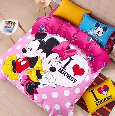 Twin & Queen Size I Love Mickey Mouse Theme Duvet Cover Bed Set