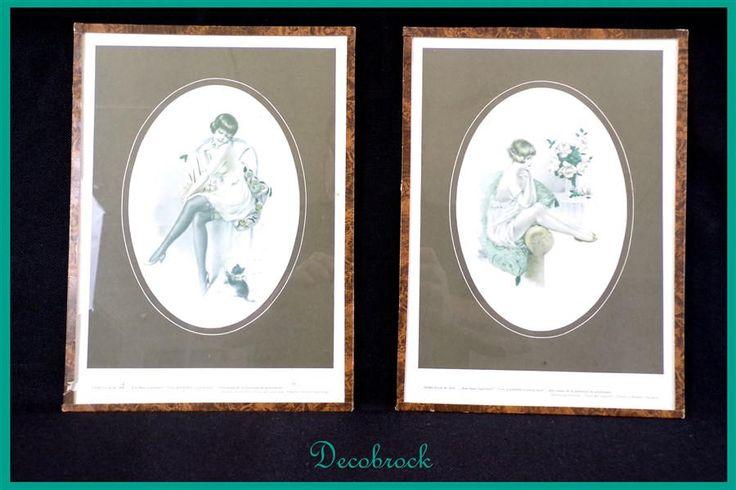 Paire de tableaux anciens érotiques art déco vintage jeunes femmes encadrés sous verre de la boutique decobrock sur Etsy