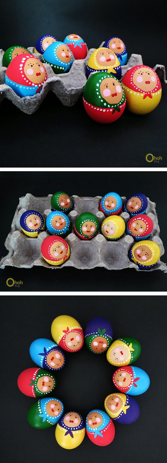 Babushka doll Easter eggs, adorable!