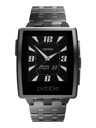 Pebble Watch - Comes with metal and leather bands, connects to iPhone, customisable watch faces, compatible with all Pebble apps.