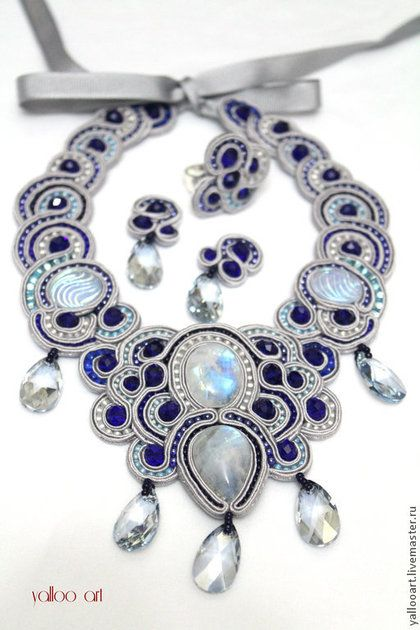 """Набор """"Луноликая"""" - серебряный,лунный камень,луна,сутаж,Ожерелье ручной работы"""
