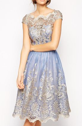Lovely Clusters Boutique: Chi Chi London Premium Metallic Lace Prom Dress with Bardot Neck - Cornflower