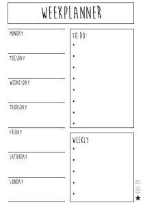 Printable weekplanner